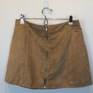 H&M Divided faux suede skirt zip front size 10
